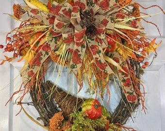 Round Autumn Fall Natural Grapevine Wreath