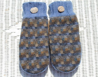 Wool sweater mittens lined with fleece with Lake Superior rock buttons in blue and brown, Christmas, gift under 30 dollars, coworker gift