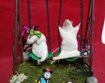 Sale!  Taxidermy/Anthropomorphic Mouse/mice Swinging Display--Minnie-precious-children at play-Swing set