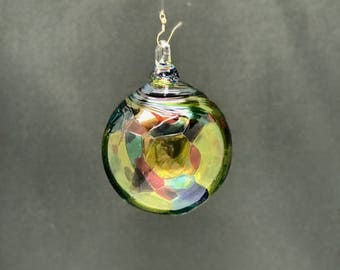 Hand Blown Glass Christmas Ornament (Color Name: Peacock)