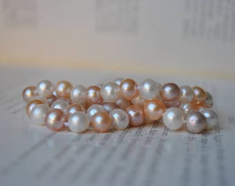 Vintage Freshwater Pearl Necklace - 1970s New Old Stock Pearl Necklace, Handknotted