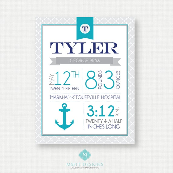 Nursery Art - Baby Birth Stats - Nautical Decor - Personalized Nursery Wall Art - Any Color - Print