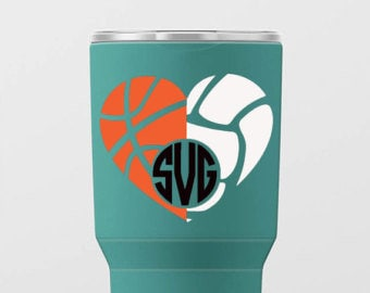 basketball volleyball heart decal, monogrammed decal, basketball decal, volleyball decal, yeti decal, cup decal, sports decal, sticker