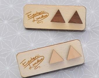 Wooden triangles stud earrings
