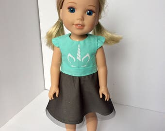 "S.O. Designs. Wellie Wisher doll dress. Handmade 14.5"" doll dress. Doll clothing. Unicorn dress in mint."
