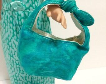 Wellie Wisher bag. Doll purse. Teal shoulder bad. Handmade to fit 14inch dolls.