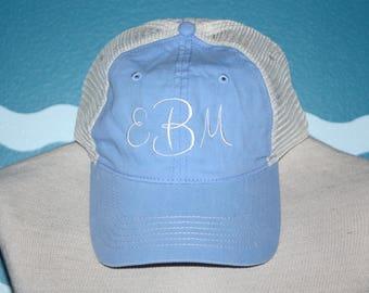 Monogram Baseball Cap - Custom Ball Cap - Monogram baseball Hat - Trucker Cap - Personalized summer hat - Mesh Baseball Hat