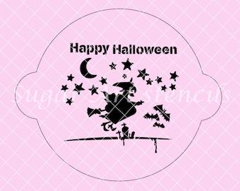 Happy Halloween flying witch stencil SL20334