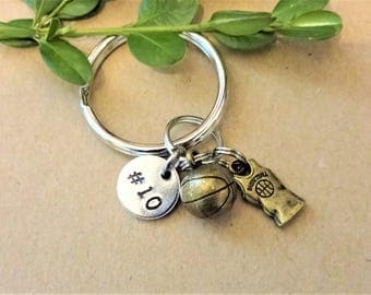 3D BASKETBALL KEYCHAIN with initial or number charm - Please see all photos to order - One flat rate shipping in my shop :)
