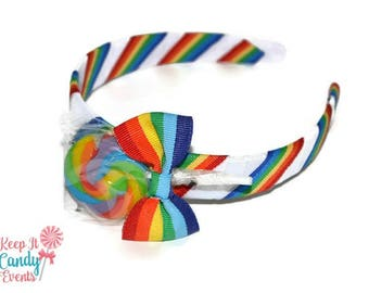 Rainbow Lollipop Headband , Rainbow Headband, Rainbow Candy Headband, Rainbow Flowergirl Accessory, Rainbow Wedding ideas,Rainbow Hair