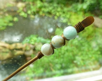 Copper hair stick with aqua and rust amazonite wire wrapped beads, bun holder, hair pin, hair fork