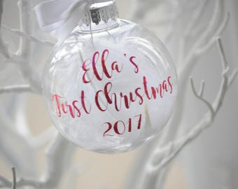 Personalised Glitter Writing Baby's First Christmas Bauble