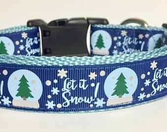 Let it snow Holiday Christmas Winter Dog Collar