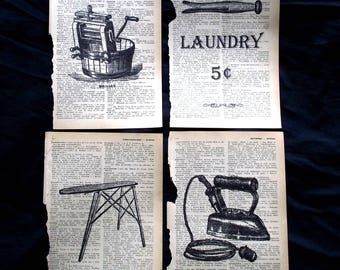 Laundry Room Set of 4 Dictionary Art Prints Home Decor Laundry Sign Vintage Washer Iron Ironing Board
