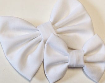 White Solid Bow | Fabric Bow | Handmade Hair Bow | Hair Clip | Headband