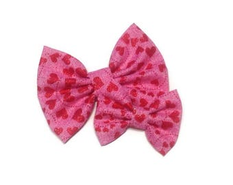 Glitter Hearts Valentine's Day Bow | Fabric Bow | Handmade Hair Bow | Hair Clip | Headband