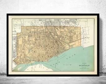 Buffalo Ny Map Etsy - Buffalo ny on us map