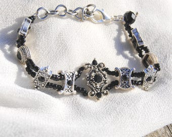 Black and Silver Gothic Inspired Bracelet