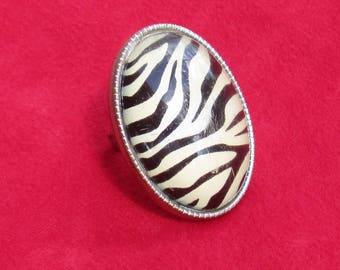 Retro Zebra Striped Acrylic Dome Shaped Adjustable Ring TLC