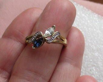 Vintage Love You  Marquise Clear & Sapphire Colored Rhinestone Ring Heavy Pitting Wear