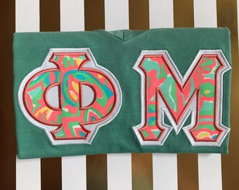 Sorority Letter Shirt Comfort Colors Lilly Fabric Phi Mu