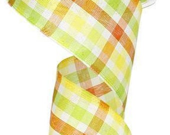 "2 1/2"" Wired Ribbon, 50 Yd Roll, Checkered Ribbon, Wreath Supply, Spring Ribbon, Yellow Green Ribbon, Craft Supply, Floral Ribbon, 97XJ,D3"