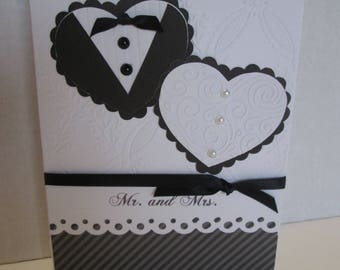 Mr. and Mrs. Black and White Wedding Card