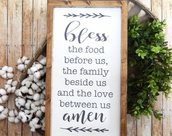 Bless the Food Before Us, the Family Beside Us, and the Love Between Us   Farmhouse Decor   Bless the Food Sign   Dining Room Decor