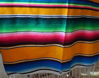 Vintage Mexican Blanket, Antique Mexican Serape Saltillo Blanket, Large Vintage Serape, Serape, Fiesta, Mexican Decor, Cinco de Mayo