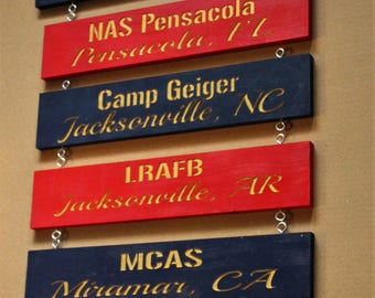 Five Personalized Duty Station signs, USMC, Custom Carved Marine Corps Sign - USMC Wall decor - Home is where the Marine Corps Sends Us