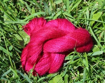 Magenta 100% Suri Hand-dyed Fingering Weight Yarn