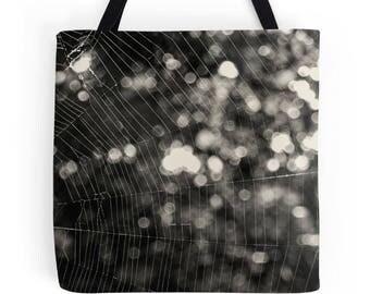 Spider web print, spider web bag, spider tote bag, nature photography, market bag, medium size bag, spiderweb, spider print, nature print