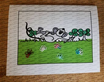 Tatted Notecards - St. Patrick's mouse