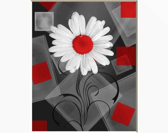 Red Gray Modern Wall Art, Red Daisy Flower, Red Home Decor Wall Art Matted Picture