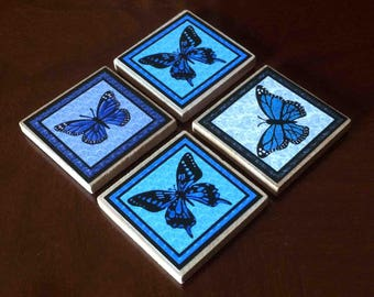 Blue Butterfly Magnets (set of 4)