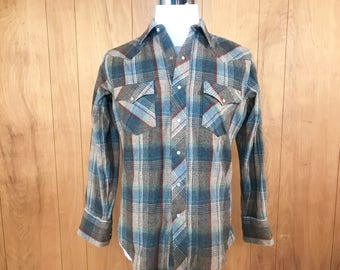 Pearl Snap Flannel Shirt Vintage 70s Plaid Western Grunge Rockabilly Clothing ~ Hey Sunshine