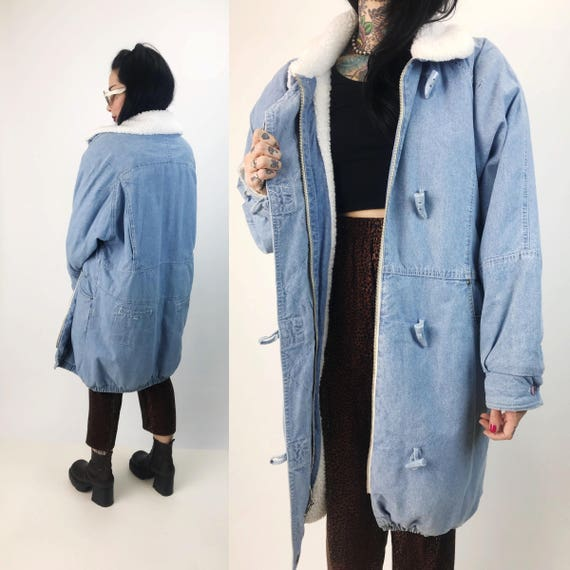 80's Heavyweight Baggy Denim Coat Thick Fleece Lined Jean Jacket Womens Large - Light Blue Long Denim Winter Street Coat Hipster VTG Fashion