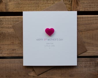 Happy 1st Mothers Day from your Little Girl Card with magnetic Love Heart Keepsake // Mother's Day // From Daughter // Magnet Card