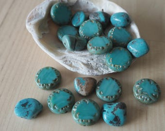 Natural turquoise, Czech glass, coin beads, nuggets