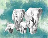 Elephant Family watercolor print in deep sea colors, gray, blue and teal. Elephant nursery prints, elephant baby shower, four elephants