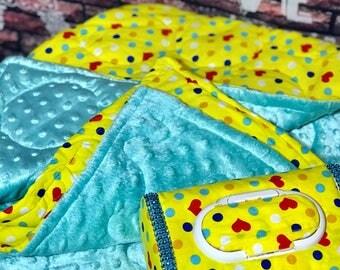 Polka Dot Minky Quilted blanket gift set