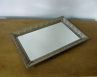 """Vintage gold  filigree mirrored vanity tray-LARGE- perfume tray- dresser tray -picture frame- mirrored vanity tray -15"""" x 10""""- gold filigree"""