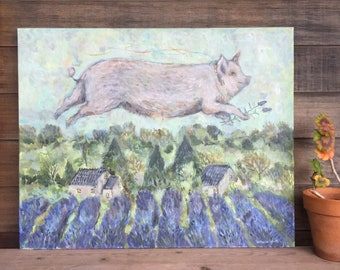 """30""""x24"""" Original acrylic painting, """"Pig Over Lavender"""""""