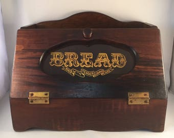 "Rustic Wood Bread Box, ""Bread Made with Tender Loving Care""  16"" Wide X 10"" Tall X 10"" Deep"