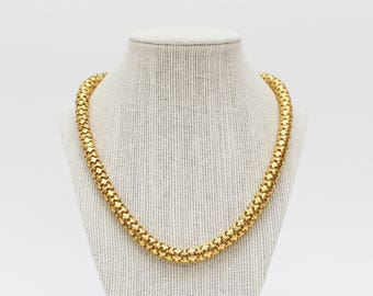 Gold Snake Chain Necklace - Vintage 1970s 19 Inch Necklace