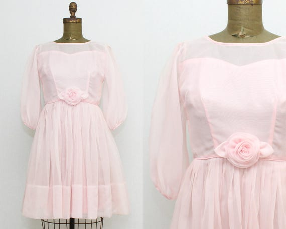 Vintage 1950s Pink Chiffon Party Dress - Size Extra Small