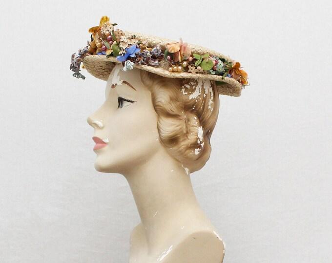 Vintage 1930s Flower Crown Boater Hat
