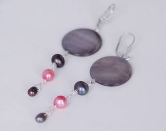 Nacre and freshwater pearls earrings/long earrings