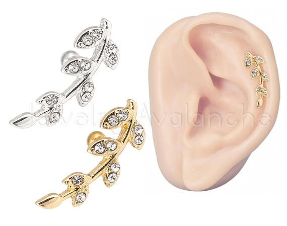 18g leaf cartilage earring climbing earrings cz accented for Helix piercing jewelry canada