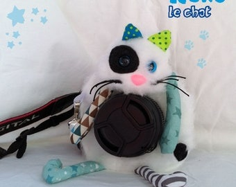 Plush camera lens, cat, colorful and funny